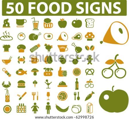 50 food signs. vector - stock vector