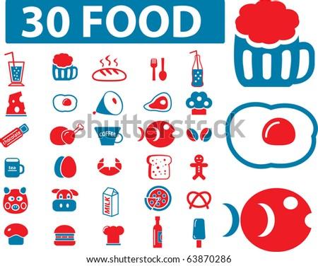 30 food signs. vector - stock vector