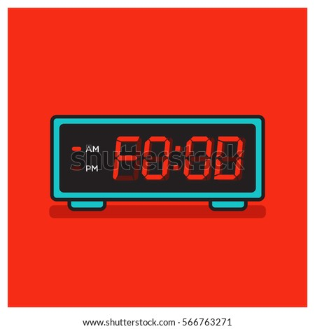 'Food Time' written on a retro alarm clock concept (Line Art in Flat Style Vector Illustration Design)