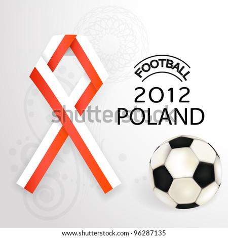 2012 Football Poland  flag symbol with soccer ball - stock vector