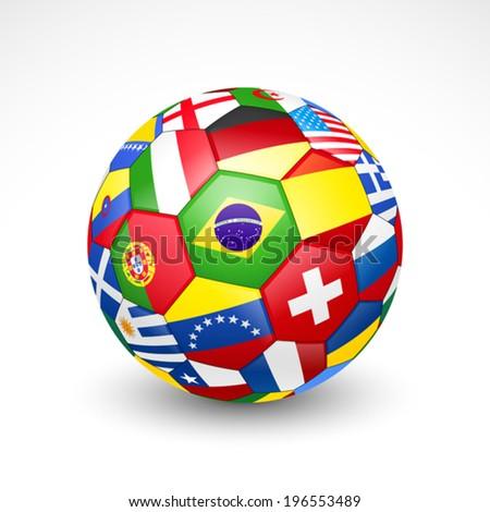 Football soccer ball with world teams flags. Vector - stock vector
