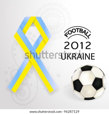 2012 Football  Ukraine flag symbol with soccer ball - stock vector