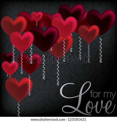 'For My Love' balloon heart card in vector format. - stock vector