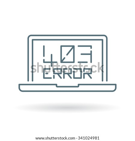 403 Forbidden Error icon. Browser internet error sign. Website denied symbol. Thin line icon on white background. Vector illustration.