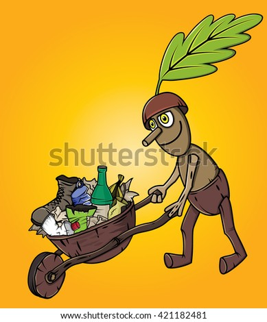 forest oak man cleaning garbage waste trash  - stock vector