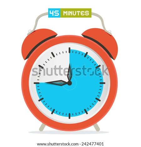 45 - Forty Five Minutes Stop Watch - Alarm Clock Vector Illustration  - stock vector