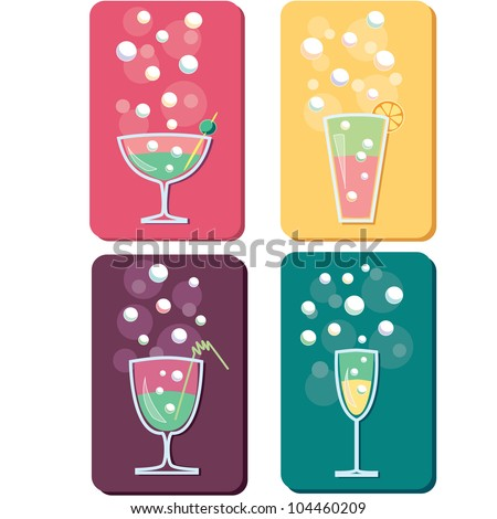 four different drinks and cocktails icon logos - stock vector
