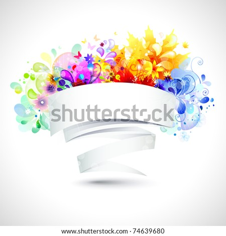 four season banners for message - stock vector