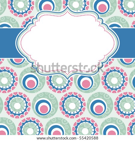 frame with background of circle  flowers - stock vector