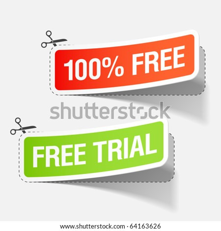 100% free and free trial labels. Vector. - stock vector
