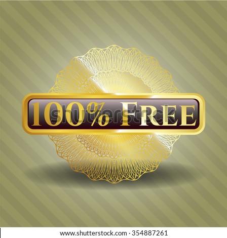 100% Free gold shiny emblem - stock vector