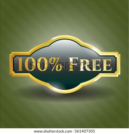 100% Free golden badge - stock vector