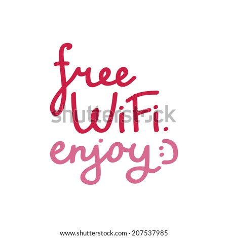 """Free wi-fi"" lettering."