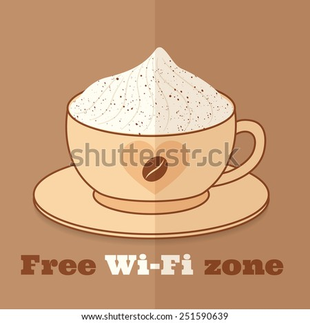 """""""free wifi zone"""" sign template for restaurants and cafes - stock vector"""