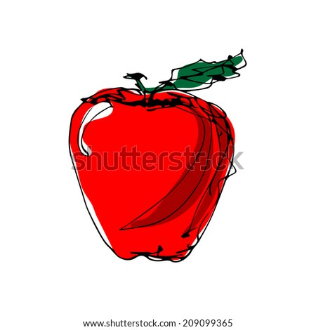 freehand drawing of apple vector  - stock vector