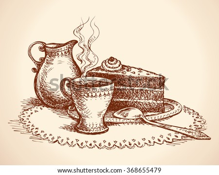 Freehand ink hand drawn picture of cake slice and coffee  - stock vector