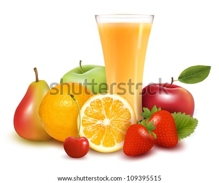 Fresh fruit and juice. Vector illustration. - stock vector