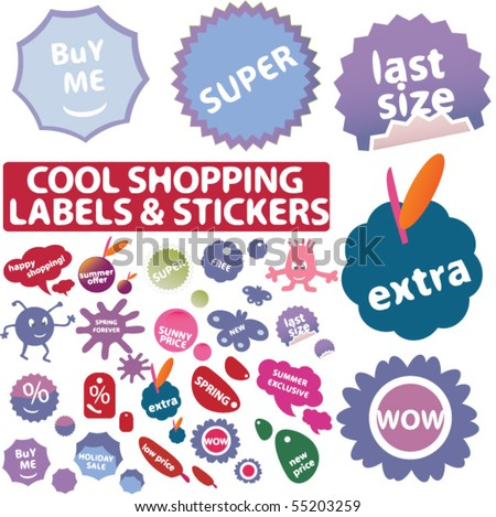 30 fresh shopping stickers. vector