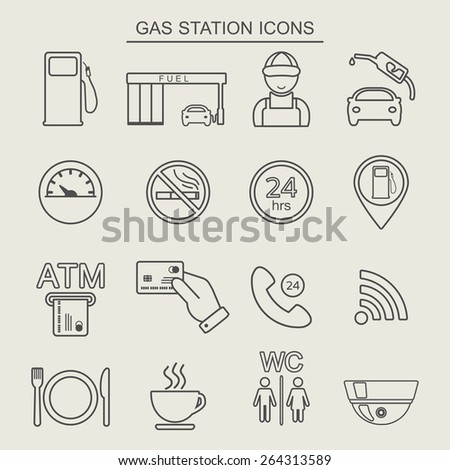 16 fuel station line icons. Monochrome color. Vector illustration - stock vector