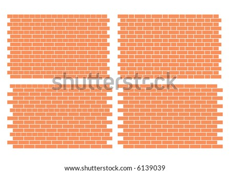 4 fully editable vector architectural brick work patterns - stock vector