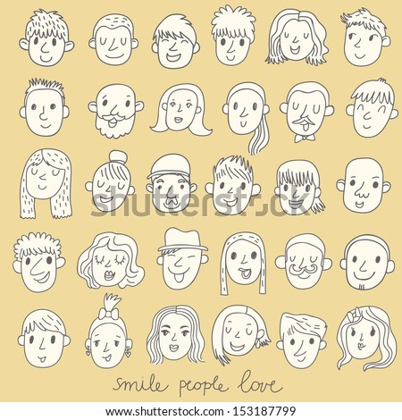 25 funny cartoon faces in vector. Men, women, girls, boys smiling and laughing - stock vector