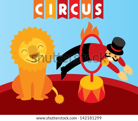 Funny circus.  Trainer jumping over the flame hoop instead of a lion in circus. Layered file. Vector design element and illustration - stock vector