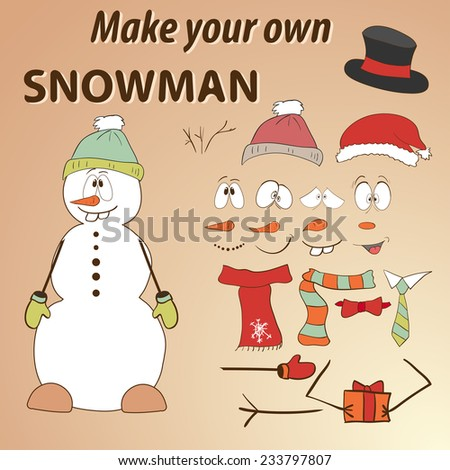 Funny hand drawn snowman do yourself stock photo photo vector funny hand drawn snowman do it yourself parts of face and body template for solutioingenieria Images