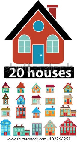 20 funny houses icons set, vector - stock vector