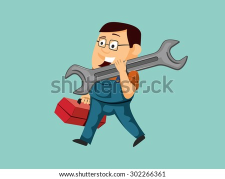 Funny repairman carries wrench and goes to repair the machine. Handy mechanic. Service center. Simple vector illustration. - stock vector