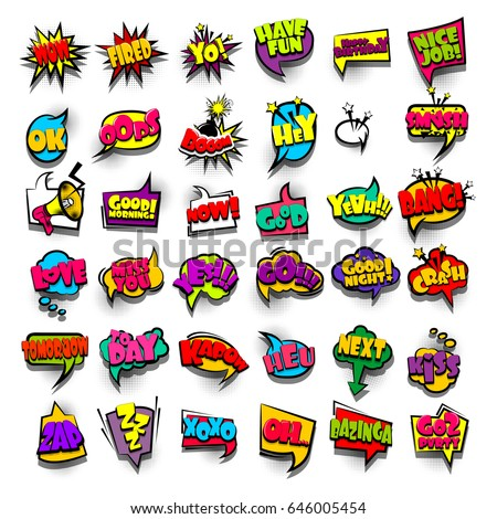 Funny Setic Book Cartoon Text Phrase Wow Fired Kapow