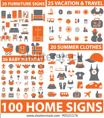 100 furniture, travel, dress, baby icons, signs, vector illustration