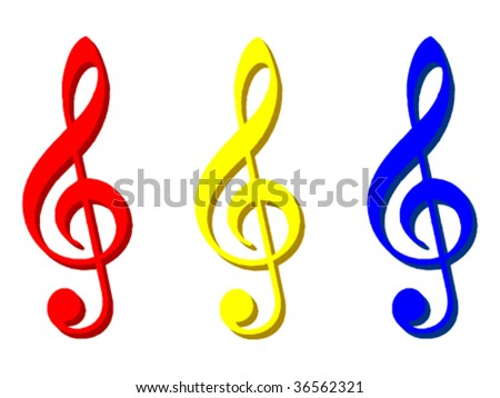 3 G-clef symbols in different colours. Vector - stock vector