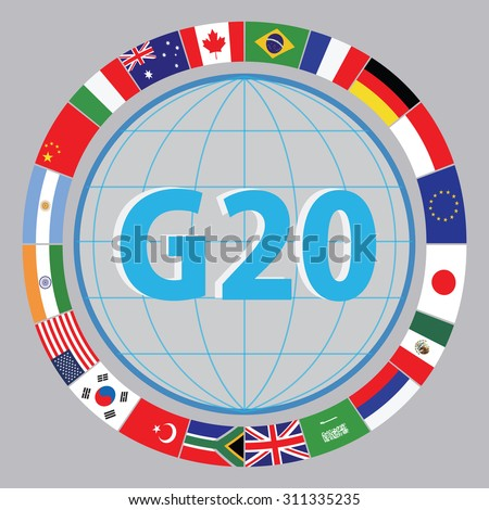 G20 countries flags or flags of the world (economic G20 countries flag) illustration . easy to modify