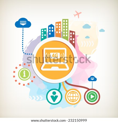 4G sign icon and city on abstract colorful watercolor background with different icon and elements. Design for the print, advertising, banner. - stock vector