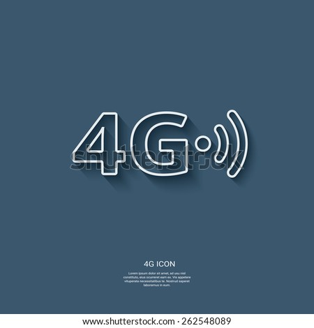 4g sign icon. Fast internet connection for mobile phones. Modern material flat design with long shadow. Eps10 vector illustration. - stock vector