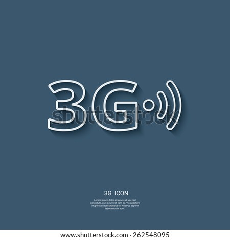 3g sign icon. Fast internet connection for mobile phones. Modern material flat design with long shadow. Eps10 vector illustration - stock vector