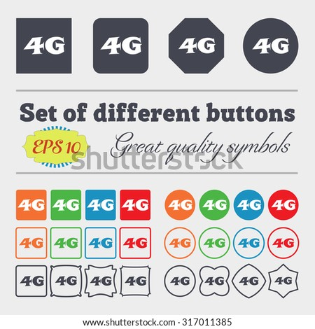 4G sign icon. Mobile telecommunications technology symbol. Big set of colorful, diverse, high-quality buttons. Vector illustration