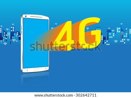 4G Smartphone 3D and Application Icons on touch screen - stock vector