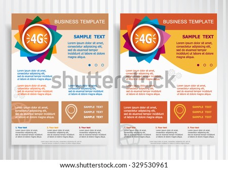 4G symbol on abstract vector brochure template. Flyer layout. Flat style.