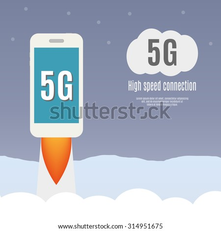 5g template with smartphone flying. High speed mobile web technology. vector illustration. - stock vector