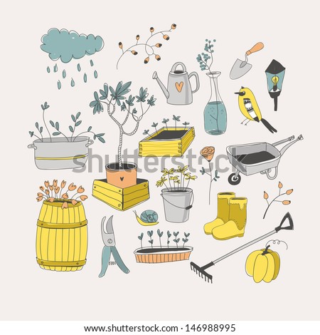 Gardening tools.  - stock vector
