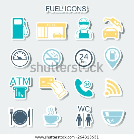 16 gas station icons. Fuel icons. Stickers. Vector illustration - stock vector