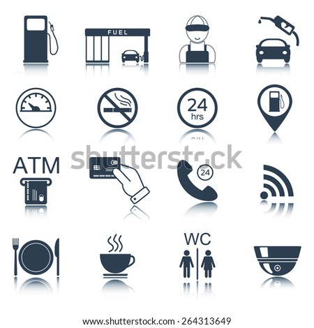 16 gas station icons. Fuel icons. Vector illustration - stock vector