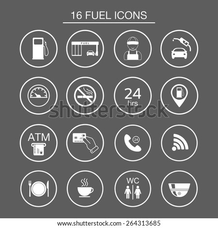 16 gas station icons. Fuel silhouette icons. Vector illustration - stock vector