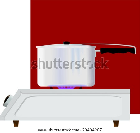 gas stove and a pressure cooker	 - stock vector