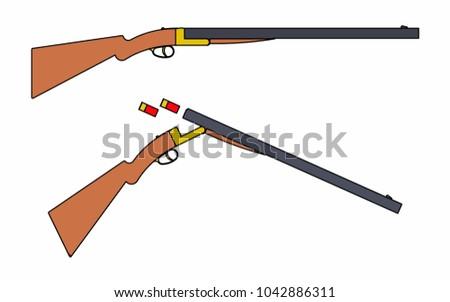 12 gauge shotgun simple black silhouette stock vector