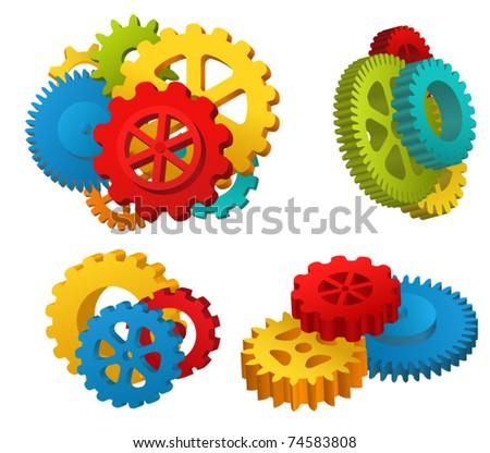 Gear mechanisms set - stock vector