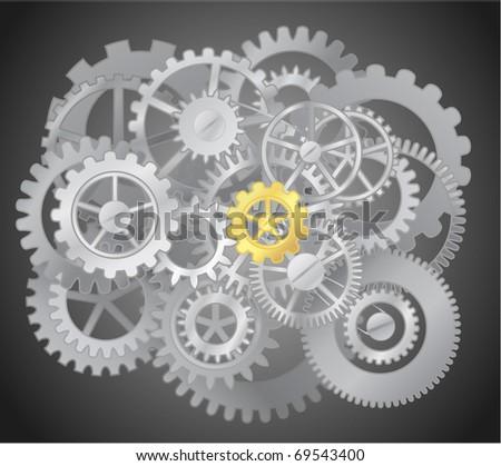 Gears - mechanism illustration - stock vector