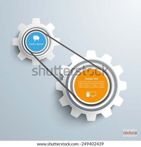 2 gears with drive chain on the gray background. Eps 10 vector file. - stock vector