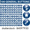 100 general buttons, icons, signs, vector illustrations - stock photo